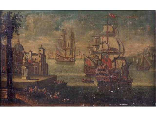 Continental School (17th Century style) Marine scene with galleons, 57 x 90cm.
