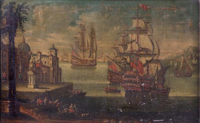 Continental School (17th Century style) Marine scene with galleons, 57 x 90cm.