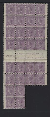1867-80: 6d. plate 9 BE-GH/HE-IF irregular block of 28 with interpane margin with inscription, diagonal corner crease at top right affecting three stamps and a few other light wrinkles, interpane margin with horizontal crease, a superb fresh unmounted mint multiple.