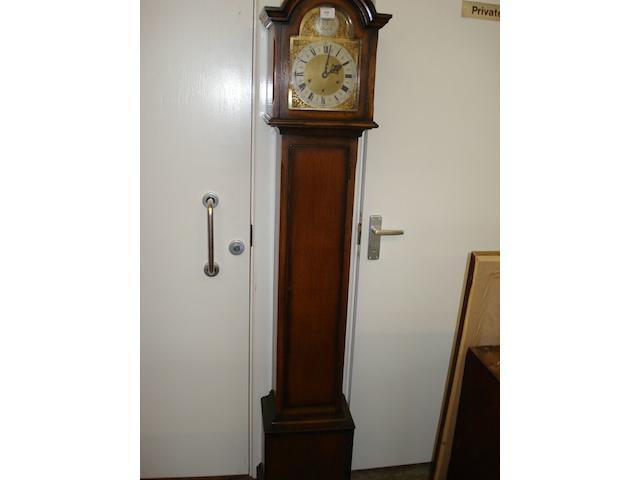 An oak cased dwarf longcase clock,