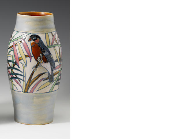 Harry Simeon for Doulton Lambeth A Vase with Bullfinch, circa 1920