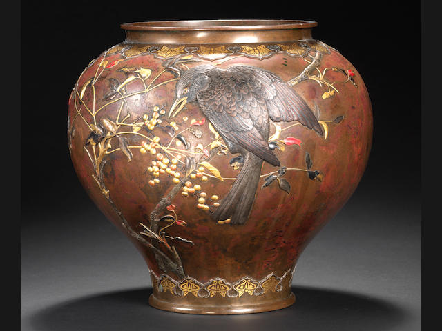 An inlaid bronze vase Attributed to Suzuki Chokichi for the Kiryu Kosho Kaisha company, Meiji period