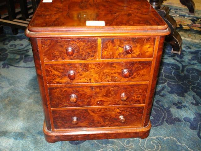 A Victorian walnut miniature chest