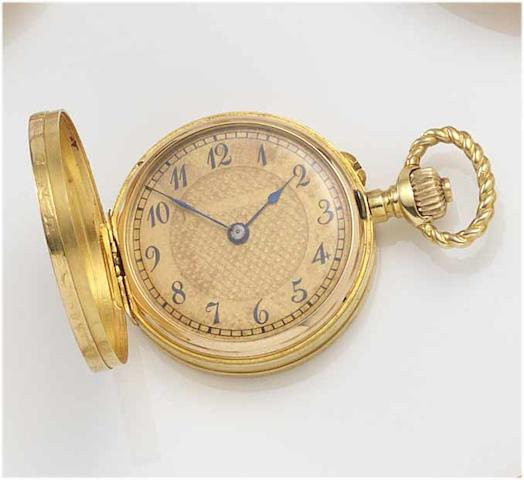 A late 19th century gold case full hunter fob watch in the form of a German coin