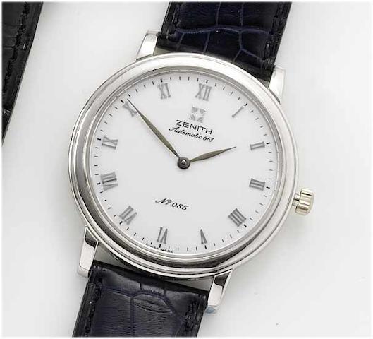 Zenith. A platinum automatic limited series wristwatch No.085/250, recent