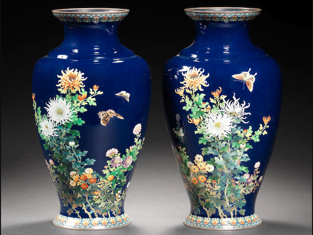 A pair of cloisonné vases By Hayashi Kodenji of Nagoya, Meiji Period