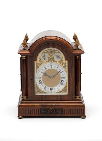 An early 20th century German rosewood quarter chiming bracket clock Lenzkirch