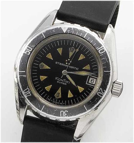 Eterna-Matic. A stainless steel centre seconds calendar military wristwatch Kontiki, M578, 1960's