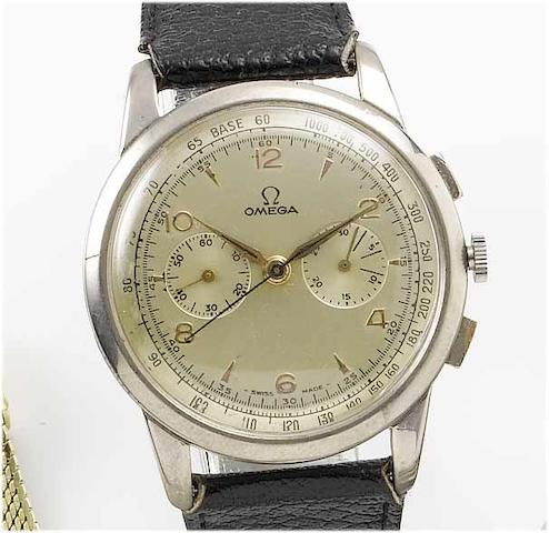 Omega. A stainless steel chronograph wristwatch 1940's