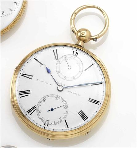 D.Gill & Son. A late 19th century 18ct gold open face pocket watch with power reserve London Hallmark for 1870