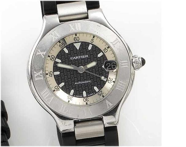 Cartier. A gents stainless steel centre seconds calendar wristwatch  21 Autoscaph, sold in 2002