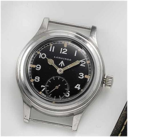 Longines. A stainless steel military wristwatch1940's, Issue No.F3995