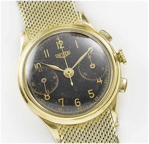 Heuer. A 14ct gold chronograph bracelet watch1940's