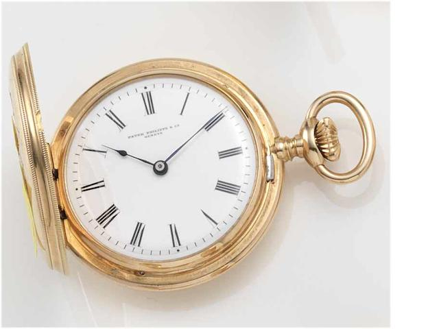 Patek Philippe. An 18ct gold full hunter fob watch with engraved monogramCase No. 209691, Movement No. 99552, circa 1890