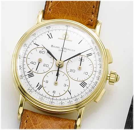Baume Mercier. An 18ct gold chronograph wristwatch Recent