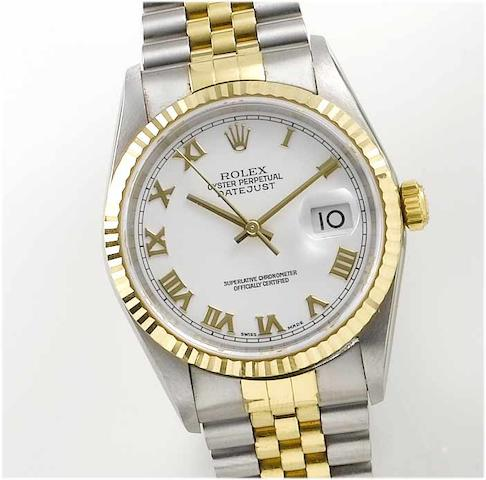 Rolex. A stainless steel and gold centre seconds calendar bracelet watch  Datejust, 2001