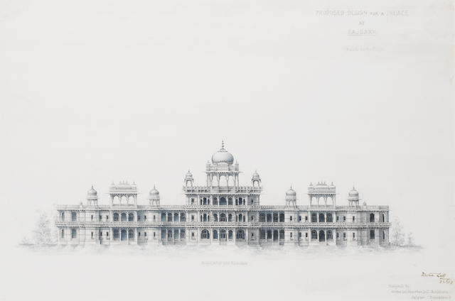 Two proposed designs for a palace at Rajgarh: front west side elevation Jaipur, 1918(2)