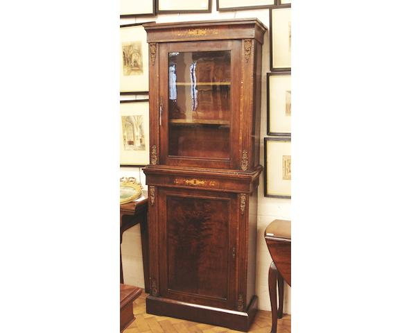 A Victorian walnut and inlaid two-tier cabinet