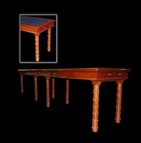 A mahogany boardroom table, circa 1900