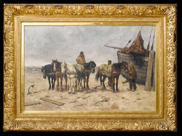 (n/a) Johan Frederik Cornelis Scherrewitz (Dutch, 1868-1951) Fishermen on the beach