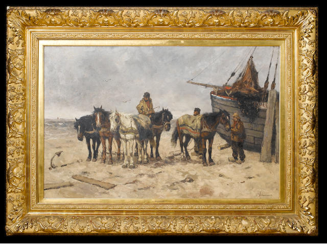 Johan Frederik Cornelis Scherrewitz 'Fishermen on the beach'