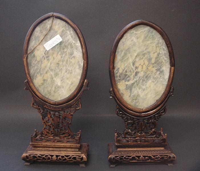 Two white jade rectangular table screens