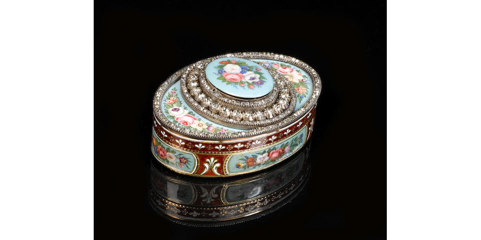 a fine and rare diamond encrusted oval musical box with erotic automaton, possibly Swiss, circa 1850