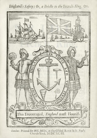 SAINT LO (GEORGE) England's Safety: or, A Bridle to the French King. Proposing a sure method for encouraging navigation, and raising qualified seamen for the well manning Their Majesties Fleet on any occasion, in a months time, without impressing; and a competent provision for all such as shall be wounded in service against the enemy, either in their Majesties Ships of War, Privatiers, or Merchant-men, to encourage the better defending them. Also an in-sight into the advantages may be made by the herring and other fisheries, in respect to the breeding of seamen, and otherwise. Together with a proposal for the maintenance and education of the male children of all such as shall be kill'd in service, ... Also encouragement for commanders of men of war, privatiers and seamen, in taking any ship, or effects of the enemies, and all to be done, without any sensible charge or burthen to the kingdom