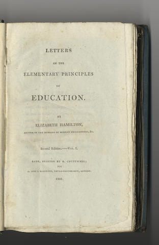 HAMILTON (ELIZABETH) Letters on the Elementary Principles of Education, 2 vol.