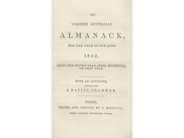 AUSTRALIAN ABORIGINAL The Western Australian Almanack... 1842... With an Appendix, Containing a Native Grammar
