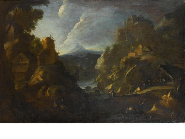 "circle of Dison, ""landscape with peasant"", cm 96x147, oil on canvas"