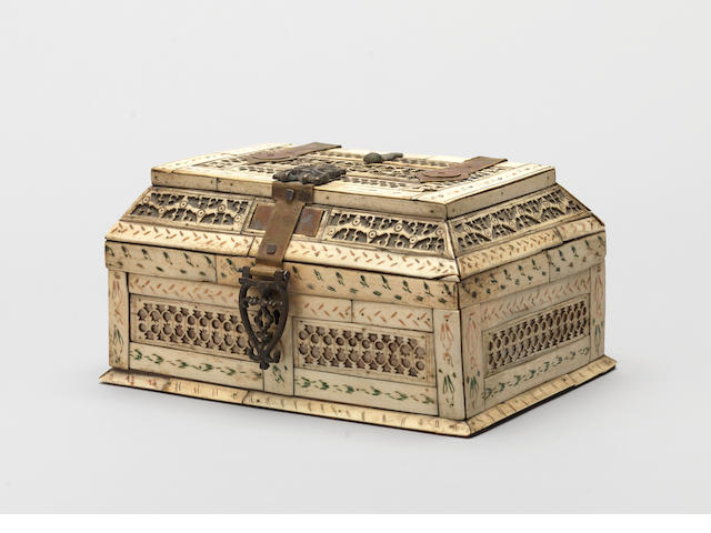 An ivory and wood Casket  Russia, 19th Century