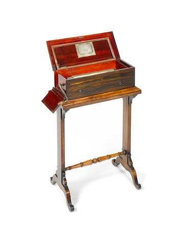 A Fine 2-per-turn mandoline musical box by Nicole Frese's No. 32471; on stand with turned strecher,