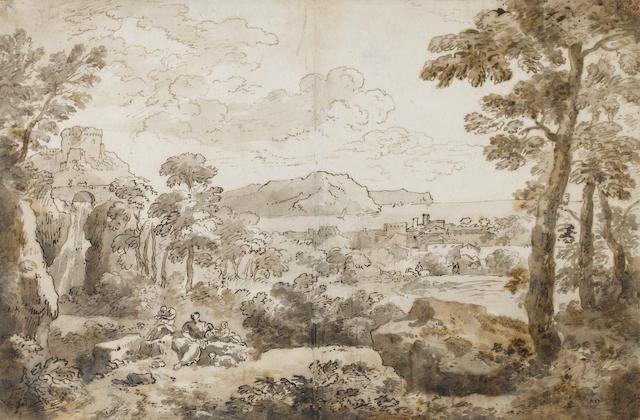 Jan Frans van Bloemen, called Orizzonte (Antwerp 1662-1749 Rome) A landscape in Lazio near the sea 257 x 388 mm.
