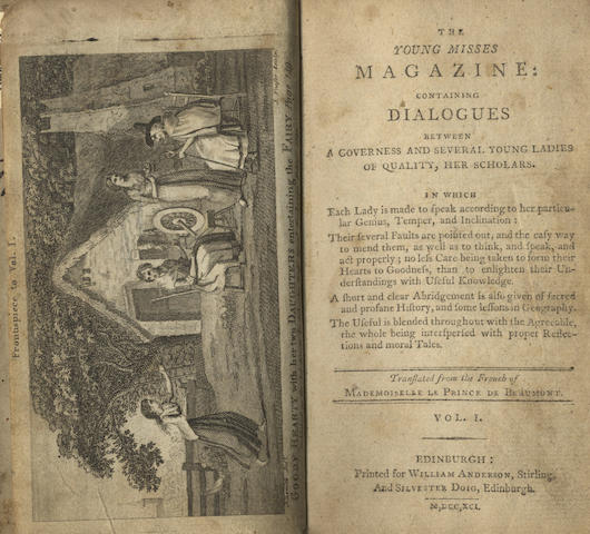 LE PRINCE DE BEAUMONT (JEANNE MARIE) The Young Misses Magazine: Containing Dialogues between a Governess and Several Young Ladies of Quality, her Scholars, 2 vol.