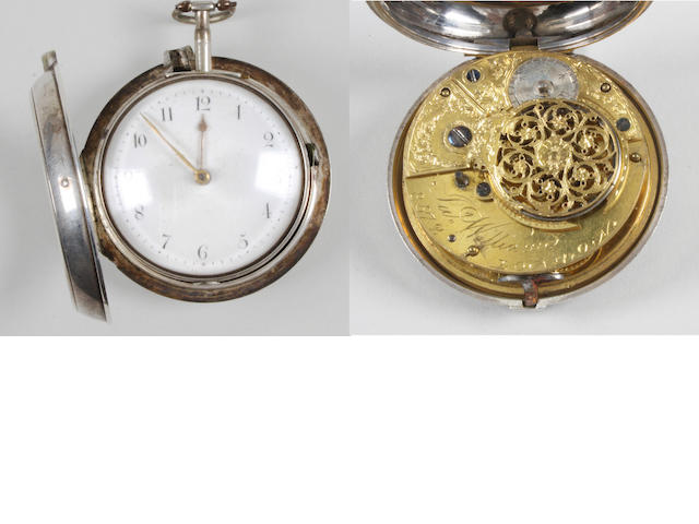 A George III silver pair cased pocket watch
