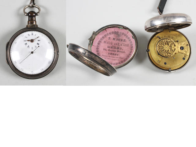 A George III silver pair cased verge movement pair cased pocket watch