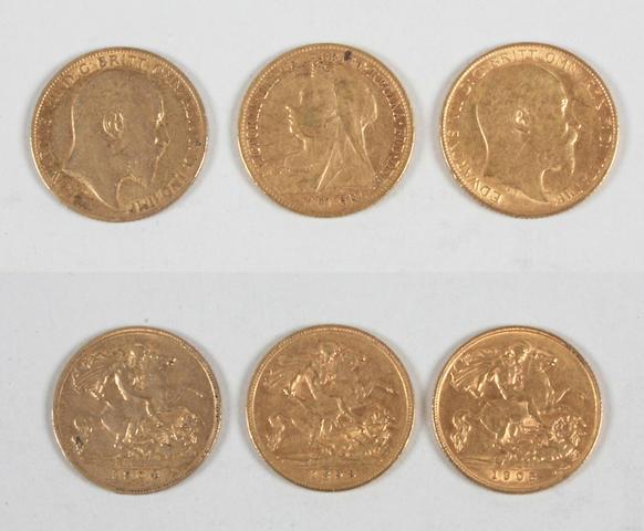 Victoria, Half Sovereign 1898, Edward VII, Half Sovereign, 1904 and 1908.(3)