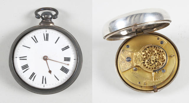 A 19th century silver pair cased verge movement pocket watch