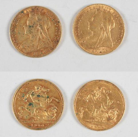 Victoria, Sovereign 1900 x2.(2)