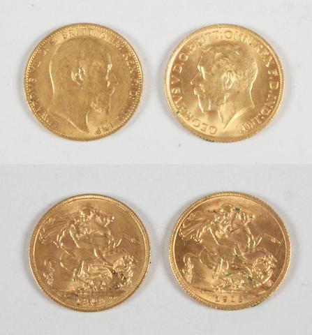 Edward VII, Sovereign 1909 and George V, Sovereign, 1915.(2)