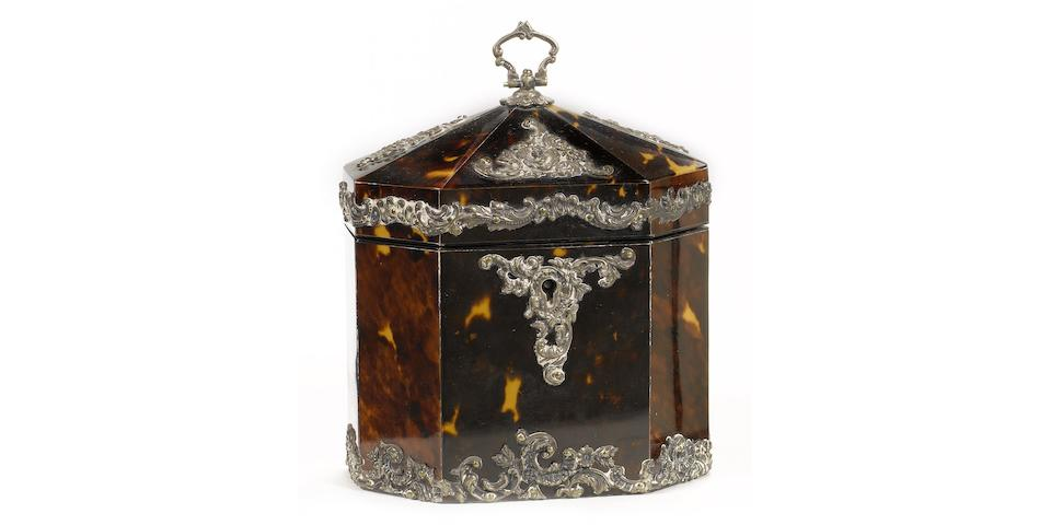 A late Victorian silver metal mounted tortoiseshell Tea Caddy