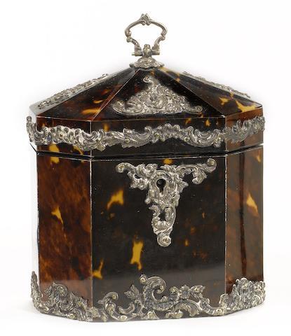 A late Victorian silver metal mounted tortoiseshell Tea Caddy