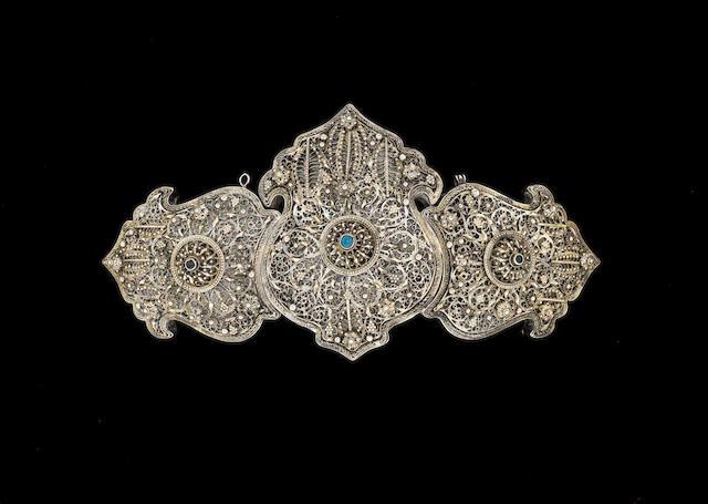 An Ottoman silver filigree Belt Buckle Balkans, 19th Century
