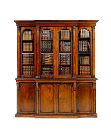 A William IV rosewood  Breakfront Bookcase