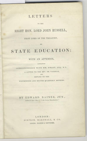 BAINES (EDWARD) The Social, Educational, and Religious State of the Manufacturing Districts; With St
