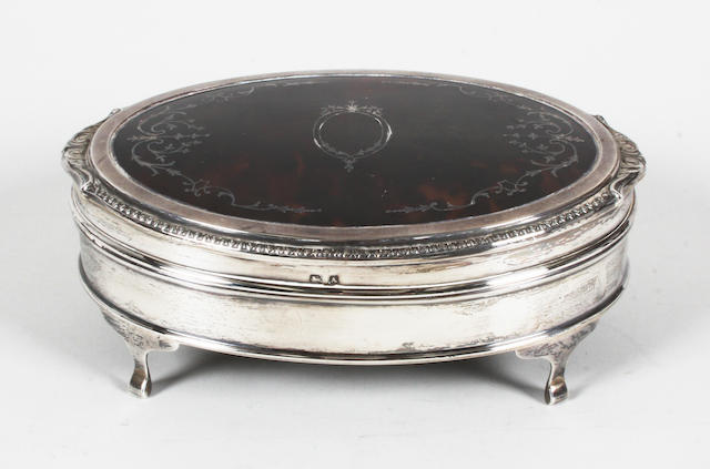 A silver and tortoiseshell pique work trinket box By Adie Brothers, Birmingham, 1925,