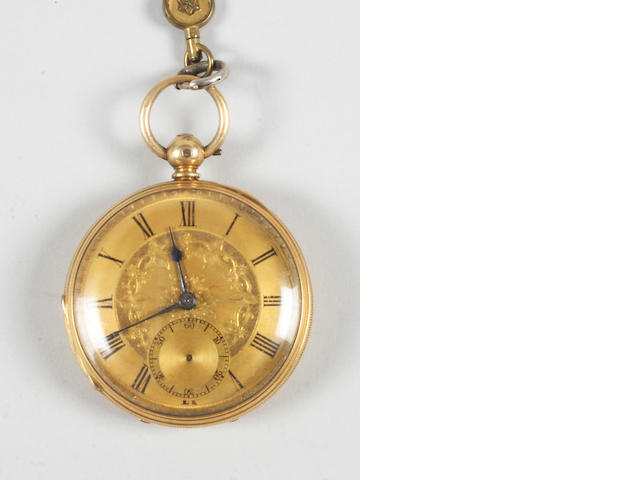 A Victorian 18 carat gold open face lever movement pocket watch