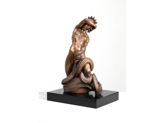Barbara Tribe (Australian, 1913-2000) Medusa (including wooden base)