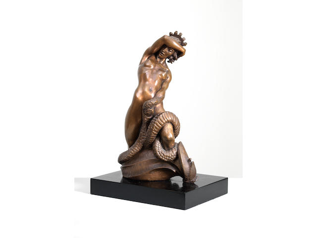 Barbara Tribe (Australian, 1913-2000) Medusa (including wooden base)